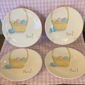 "Rae Dunn Hunt Easter Appetizer Plates 8""- Set of 4"